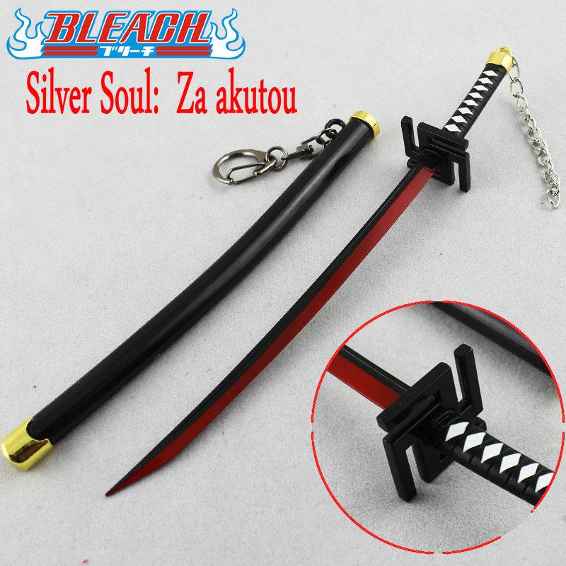 New Anime Cartoon Bleach Ichigo Kurosaki za akutou zinc alloy weapon simulation model sheath knife Keychain Toy Swords(China (Mainland))