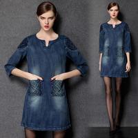 Denim Dress Plus Size Women Clothing 3/4 Sleeve #ZR1542
