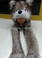 free shipping Cartoon Animal Hat Wolf Furry Plush Warm Animal Cap Hat with Scarf Gloves