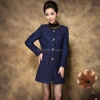 European Women Coats Winter Fashion 2014 Lace Stitching Casual Wool Woman Coat Outwear Coat
