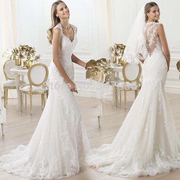 G11308 líbano marfim sexy sereia do vestido de casamento com decote em v Lace apliques vestido de noiva barato Lace vestidos de casamento vestido de noiva(China (Mainland))