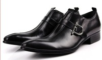 High-grade Fashion buckles man genuine leather dress shoes business formal pointed toe mens shoes