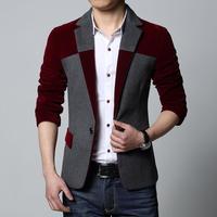 Hot Sale Men's Velvet Blazer Slim Fit Corduroy Casual Suit Jacket Winter Patchwork Fashion Blazers Men Plus Size M-6XL