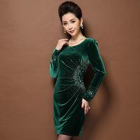 Plus sizes Velour Women Dress,Elegant Slim Korean velvet beaded embroidery long-sleeved dresses winter dress Free shippingS8088J