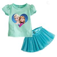 2014 New Summer Fashion Children Clothing Set Frozen Elsa Christmas Costumes Kids Sport Suit Girls Outfits T Shirt Blue Skirts