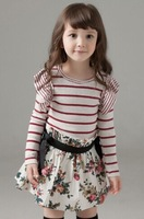 2014 hot selling spring and autumn girls period and the long sleeve stripe round collar princess skirt Free shipping