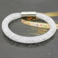 Factory Price! Sell Hot Stardust Bracelet Mesh Chain Crystal Inside Magnetic Wrap Bracelet Charm Bracelet 1 PCS Free Shipping