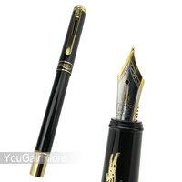 Crocodile 218 Medium Nib Fountain Pen Black Color Gold Trim
