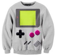2015 New 3D Harajuku Style Hoodies Digital Printing Game Button Sweatshirt Women Sexy Sweaters Man Casual Brand Coat