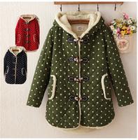 312 Winter Maternity Outerwear Polka Dot Horn Button with Hood Berber Fleece Thickening  Medium-Long Clothes for Pregnant Women