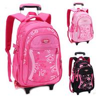 Children Boys and Girls Nylon Elementary Trolley School Backpack Kids Primary Travel School Backpacks with Wheels