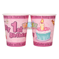 Hot Sale!50pcs/lot 9oz pink 1 year old girl Paper Cups,Party Paper Cup,wedding birthday party supplies,Party Decor