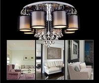 Modern luxurious sitting room study bedroom romantic restaurant LED k9 crystal chandelier 6-8 head Fabric art crystal chandelier
