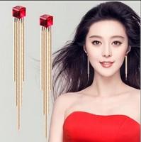 2014 Tassel drop earring female long elegant design crystal earrings for women Free Shipping New Wedding Earrings