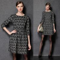Women Winter Fit Flare Flower Pattern Lace Dress Plus Size A Line L-4XL  #ZR1550