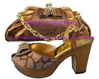 Matching shoes and bags EVS365 coffee with many stones fashon new design with free shipping for christmas party gift