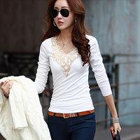 T-Shirt Women Plus size Long sleeve Lace Embroidery Winter Tops for Women Basic Shirt Black/White  M-XXL