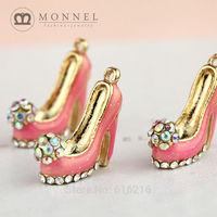 H485b Brand New 3pcs Cute Glitter Red High Heel Shoe Slipper Pendant Charm