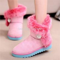 2015 HOT Style Artificial Fox Rabbit Design Fur Inside Women's Snow Winter Warm High Pink Shoes Fashion Autumn Ankle Boots 36-40