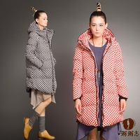 2014 Winter Korean style women's wave dot down jacket long sleeve polka dot down coat with large size free shipping