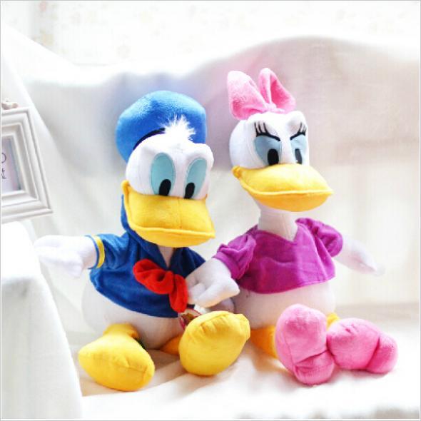 33CM 2pcs/lot Free Shipping Stuffed Dolls Donald Duck Daisy Duck Set Promotional Kids Gift Plush Toys BT093(China (Mainland))