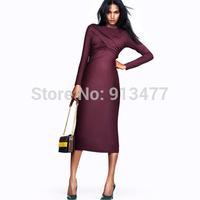2014 Winter New Fashion Sexy Long Sleeve O-neck Sheath Dresses Hiqh Quality Work Wear Dress Free Shipping
