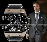 2014 Most Popular Big dial Genuine leather Quartz Watch Luxury Men's wrist Watch 30 m Waterproof Sports Watch Business watch