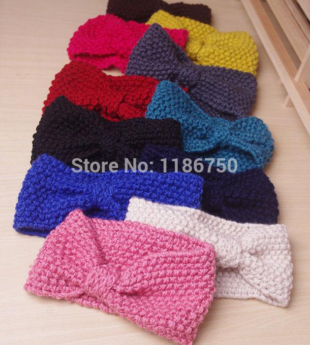 Fashion Women knitted headband Flower bow crochet headwrap winter ear warmer hairband girl headbands handmade wholesale(China (Mainland))