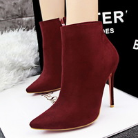 HOT  Free shipping new women boots European and American Higher heel sexy zipper was thin pointed new Martin boots 6 colors