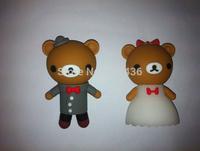 Free shipping 4GB 8GB 16GB 32GB cartoon couple lover teddy bear usb flash drive memory stick pen