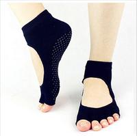Backless Home Yoga toe fiver finger socks, non-slip yoga socks, female sports cotton Sport PVC socks