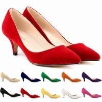 2014 woman flock pumps Pointy toe classic pumps women's shoes high heel stiletto shoes women shoes us 4-11 zapatos de tacon alto