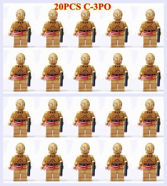 20PCS/lot *SY198* newest STAR WARS Pearl Gold C-3PO Droid minifigure plastic building block bricks toys(China (Mainland))