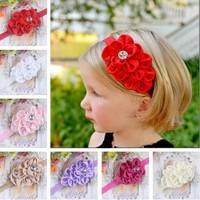 MOQ 1PC New Style Rhinestone Headband Hairband Baby Girls Flowers Headbands Kids Hair Accessories Baby Christmas Gift