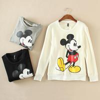 Korean Cute Mickey Cartoon T-Shirt Women, Flocking Thick Sweatershirt Girl Fall Winter Long Sleeve Casual Black White Grey