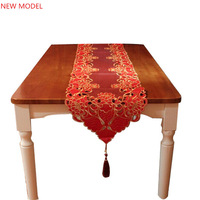 40x200cm Table Runners Embroidery Red Table Cove Tablecloth Flower Design Wedding  Home Hotel Dining Room NO.6822  Free shipping