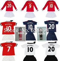 New Sock kids boys children youth manchester short soccer jersey kits,Falcao Di Maria V persie Rooney 14 15 long sleeve shirt