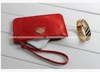 RO075 Small bag patent leather red heart dot  PU zipper handbag mobile phone bag wallet Drop shipping /Wholesale Free Shipping