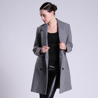 Famous Brand on sale Women's winter elegant slim coat long with button design wool and blends coat free shipping