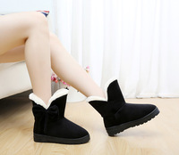Free Shipping New Fashion Women Bowknot Women Flats Snow Ankle Boots Popular Design Ladies Winter Warm Soft Shoes