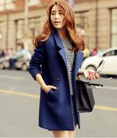 6065 casacos femininos New 2015 Winter Coat Women Blue Slim Wool Coat Long Desigual Woolen Coat Female Overcoat Free Shipping