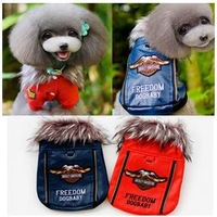 10PC/lot  Hot Sale  Pet  dog winter  coat hoody jumper leather jacket  red dark blue S-XXL  new year gift LP1130-9