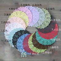 4.5''DIY Lace Decorative Paper Doilies Colorful Flower Style Hollowed Place mat scrapbook accessories for wedding paper 120pcs
