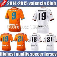 A+++ THAI quality PACO ALCACER A.NEGREDO RODRIGO M GAYA Soccer Jersey Valencia 14 15 Valencia shirt 2015 White home Away Orange