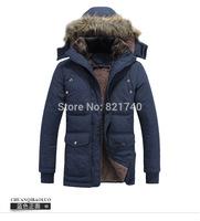 2015 new winter fashion plusbig size casual jacket men Hooded thick outdoor coat male cotton 3XL 4XL fur inside winter coat warm
