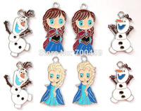 Gift ! Hot ! New 1000 pcs Cartoon Frozen Elsa Anna Olaf DIY The  Charm Metal Pendant jewelry DHL free shipping!