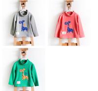 2014 NEW Retail Kids Tops Cartoon giraffe  Long Sleeves T shirt  girl t shirt top tee/ Kids t shirt /Children's T-Shirts