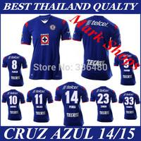 New arrival 14/15 Cruz Azul Home Blue fabian formica gimenez pavone perea rojas best quality soccer football jersey Uniforms