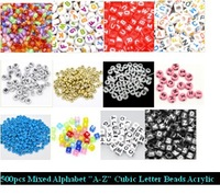 "500pcs 6mm Mixed Alphabet ""A-Z"" Cubic Letter Beads Acrylic Spacer Beads For Loom Band Bracelet"