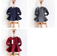 Children's Fashion Clothes Baby Girl Winter Dress Girls  Thick Warm  Winter Dress,silk ribbon Little Girl Party Dress